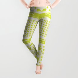 Chartreuse vintage pattern Leggings
