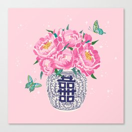 peony bouquet in ginger jar/pink Canvas Print