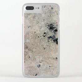 Abstract vintage black gray ivory marble Clear iPhone Case