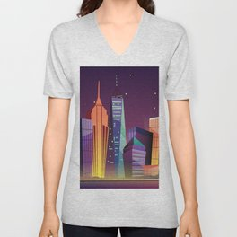 Gotham City at Night - Kitschy Cartoon New York City Manhattan Unisex V-Neck