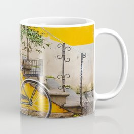 Bicycle Parked at Wall, Lucca, Italy Coffee Mug