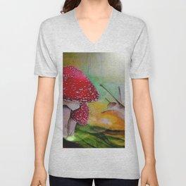Snail and mushroom, watercolor Unisex V-Neck