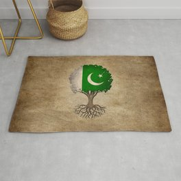 Vintage Tree of Life with Flag of Pakistan Rug