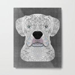 White Boxer Metal Print