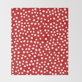 Red and white doodle dots Throw Blanket