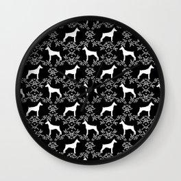 Doberman Pinscher floral silhouette black and white minimal basic dog breed pattern art Wall Clock