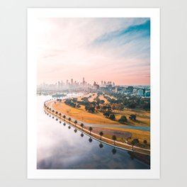Melbourne in the distance Art Print