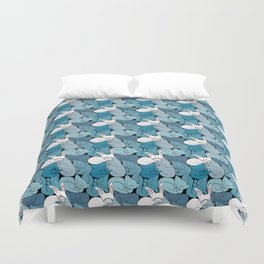 Teal Curled Up Bunny Cats Duvet Cover