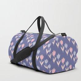 Modern hand painted pink lavender violet tulip floral Duffle Bag
