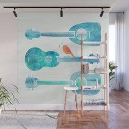 Sing a Happy Tune ~ Cute bird on guitar Wall Mural