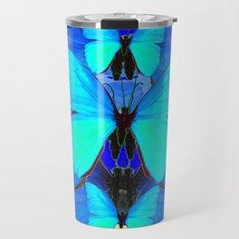 DECORATIVE BLUE SATIN BUTTERFLIES YELLOW PATTERN ART Travel Mug