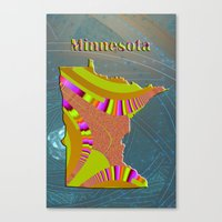 minnesota Canvas Prints featuring Minnesota Map by Roger Wedegis