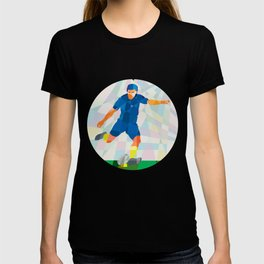 Rugby Player Kicking Ball Circle Low Polygon T-shirt