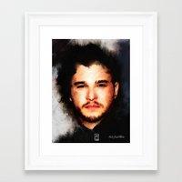john snow Framed Art Prints featuring Kit Harrington aka John Snow by André Joseph Martin