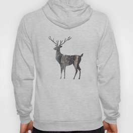 deer silhouette stag black bark with lichen Hoody