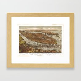 Aerial View of New York and Brooklyn (1875) Framed Art Print