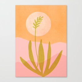 Desert Moon With Agave / Abstract Landscape Canvas Print