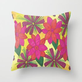Bohemian Floral Garden Print Throw Pillow