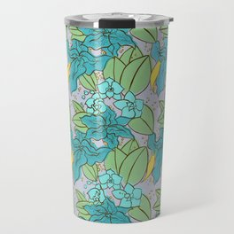 Blue Lilies and Orchids Travel Mug