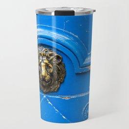 Lion on Blue Door Travel Mug