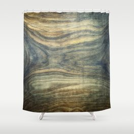 The young boy entrapped inside. Background wooden panel. Shower Curtain