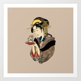 Tea Time with Shiba Inu Art Print