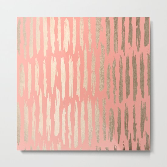 Vertical Dash Tahitian Gold on Coral Pink Stripes Metal Print