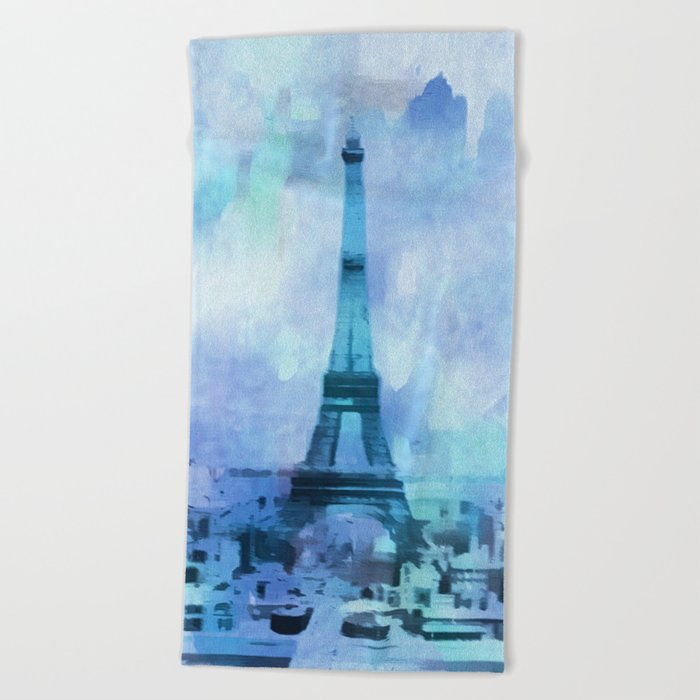 Blue Eifel Tower Paris France abstract painting Beach Towel