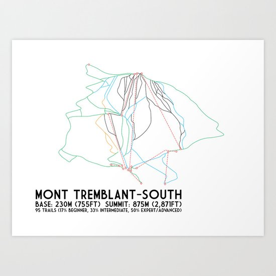 Mont Tremblant, Quebec, Canada -South Side - Minimalist Trail Art Art Print