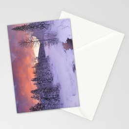 III - Sunrise over a river in winter near Levi, Finnish Lapland Stationery Cards