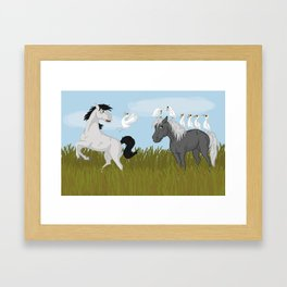 Camargue horse's trouble Framed Art Print
