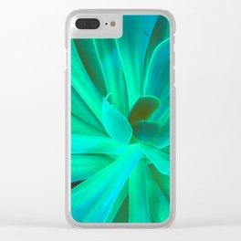 Neon Green and Aqua Blue Succulent Clear iPhone Case