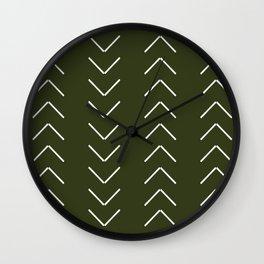 Mudcloth II (Olive Green) Wall Clock