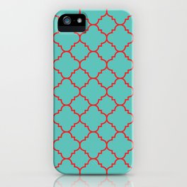Quatrefoil - Turquoise & Red iPhone Case