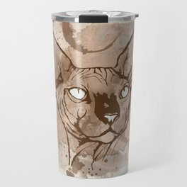Watercolor Sphynx (Sepia/Coffee stain) Travel Mug