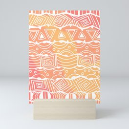 Wavy Tribal Lines with Shapes - White on Orange - Doodle Drawing Mini Art Print