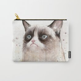 Grumpy Watercolor Cat Geek Meme Whimsical Animals Carry-All Pouch