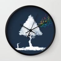 hunting Wall Clocks featuring colourful hunting by Steven Toang