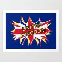 union jack Art Prints featuring Union Jack by mailboxdisco