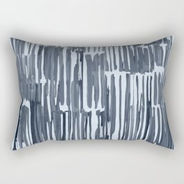Simply Bamboo Brushstroke Indigo Blue on Sky Blue Rectangular Pillow