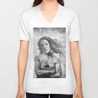 sia V-neck T-shirts featuring VENUS ILLUSTRATED by Julia Lillard Art