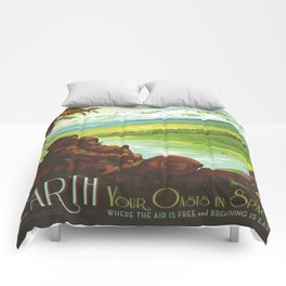 Earth Retro Space Poster Comforters