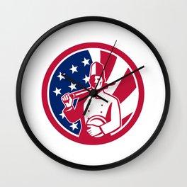 American Baker USA Flag Icon Wall Clock