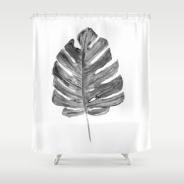 Monstera black and white, illustration Shower Curtain