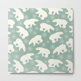Merry Christmas - Polar bear - Animal pattern Metal Print