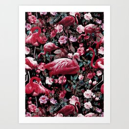 Floral and Flamingo VIII pattern Art Print