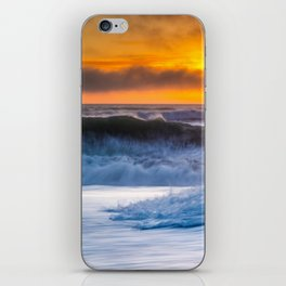 Waves Pound the Beach at Sunset iPhone Skin