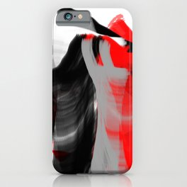 dancing abstract red white black grey digital art iPhone Case
