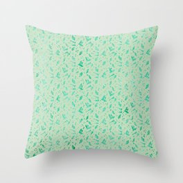 Aqua Blue Metallic Foil Animal Spots on Spearmint Mint Throw Pillow