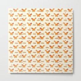 Red Fox & Hearts Pattern Metal Print